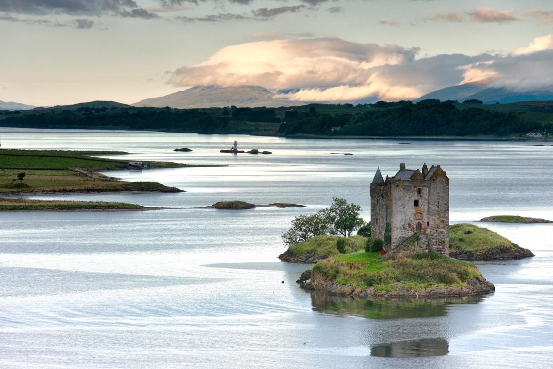 june daybreak on castle stalker the lynn of lorn lismore and the mountains of morvern